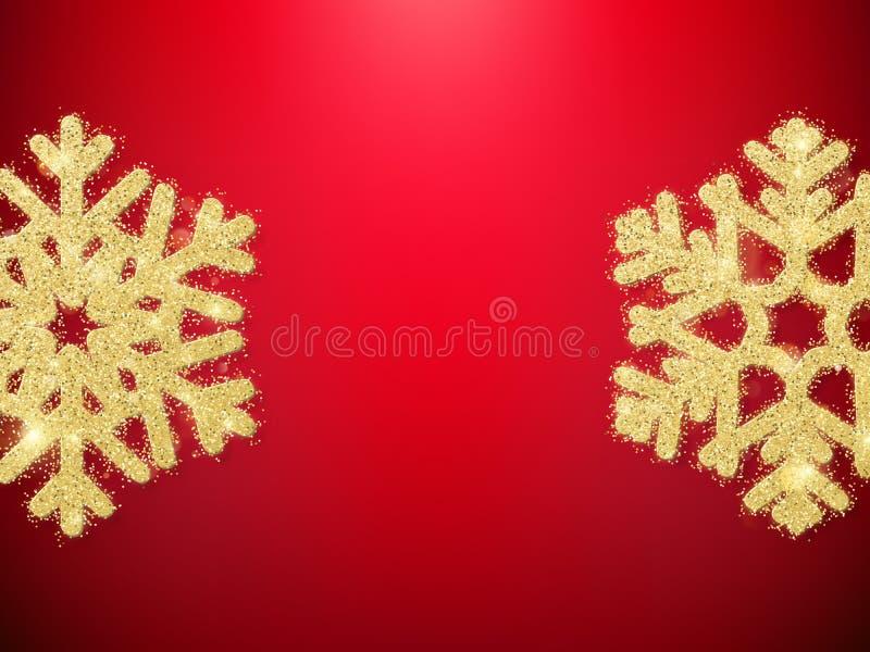 Flocos de neve dourados do objeto da decoração do Natal do brilho para cartões, convites, presentes no vermelho Eps 10 ilustração do vetor