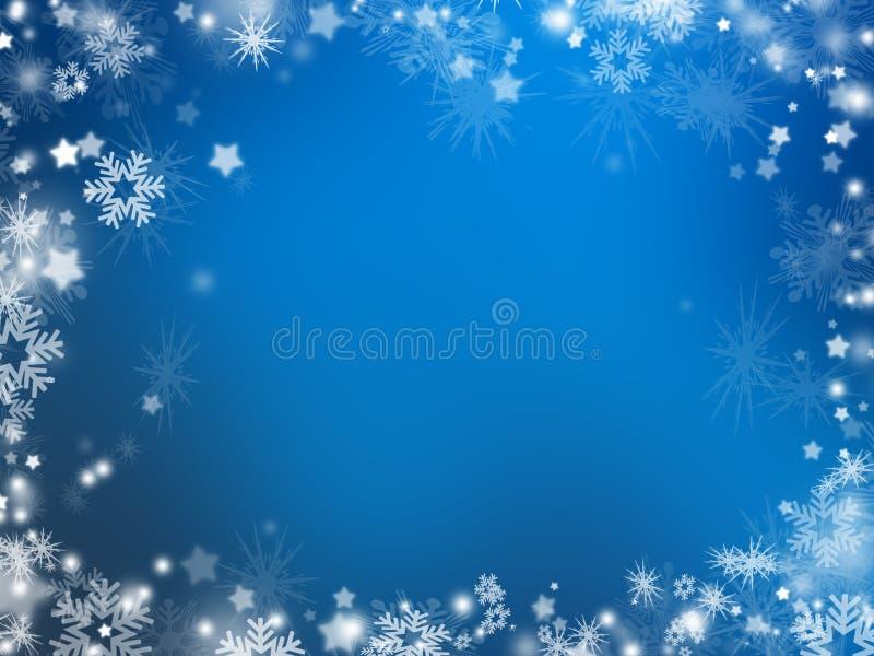 Flocos de neve e estrelas ilustração stock