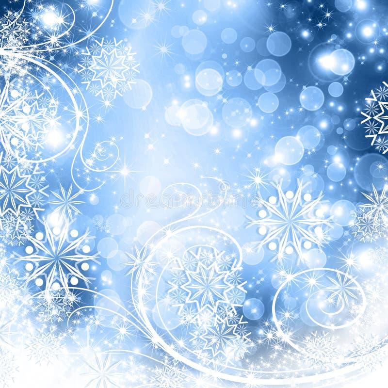 Flocos de neve e estrelas que descem ilustração royalty free