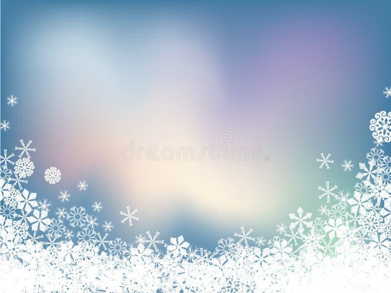 Flocos de neve e luzes do norte ilustração do vetor