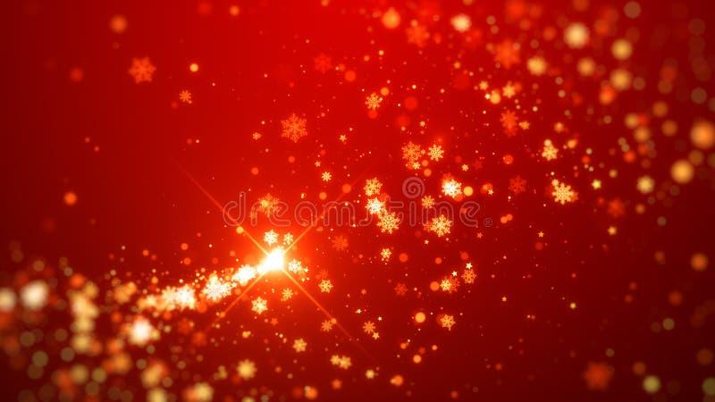 Flocos de neve efervescentes do ouro e fundo mágico do Natal da estrela, tema vermelho ilustração stock