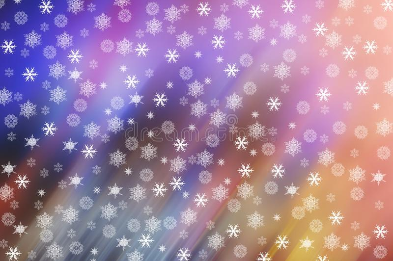 Flocos de neve em um fundo colorido obscuro ilustração do vetor