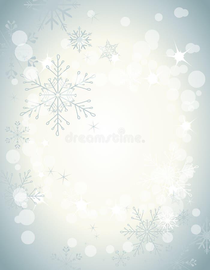Flocos de neve em um fundo do inverno ilustração do vetor