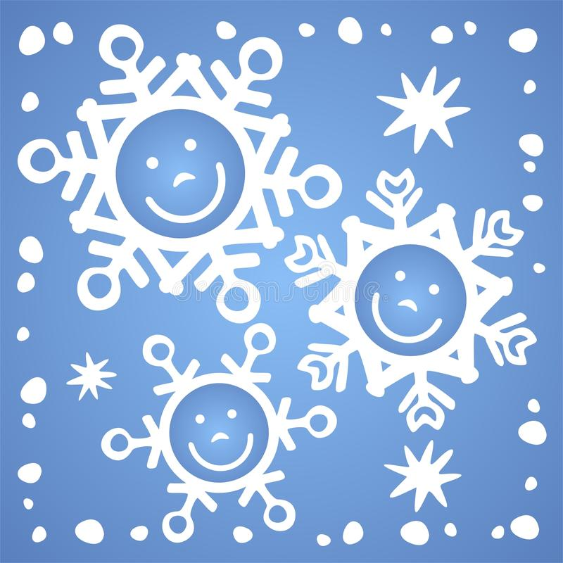 Flocos de neve felizes ilustração do vetor