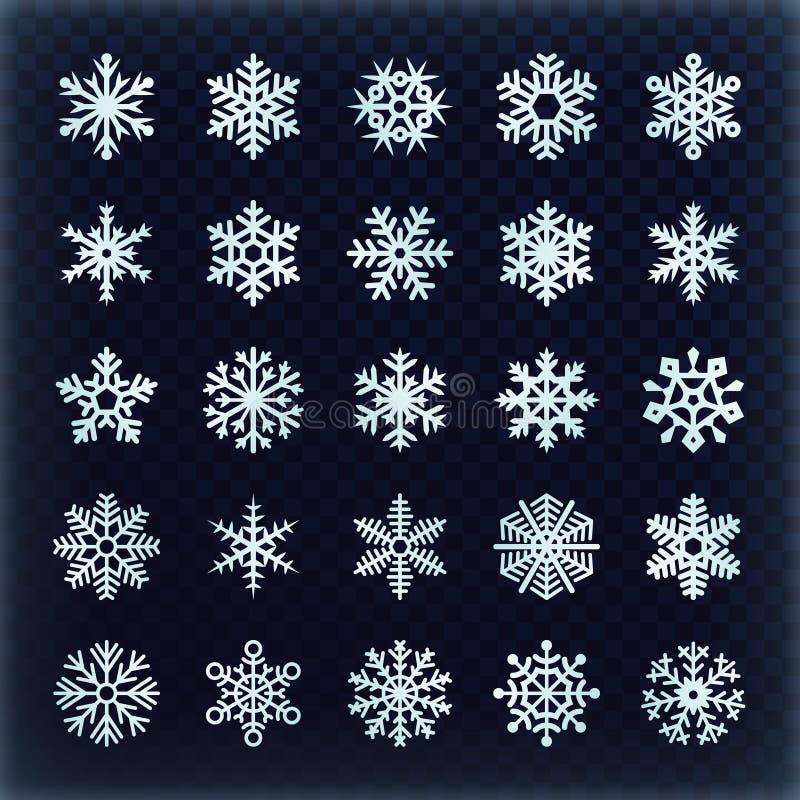 Flocos de neve festivos do vetor ajustados Elementos da decoração dos holydays do Natal ilustração do vetor