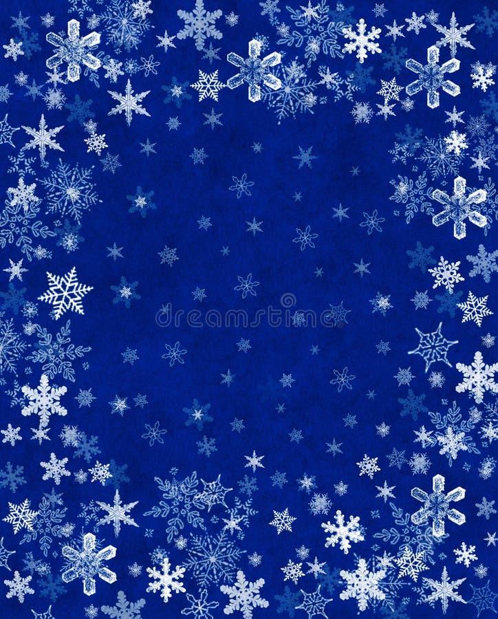 Flocos de neve no azul ilustração do vetor
