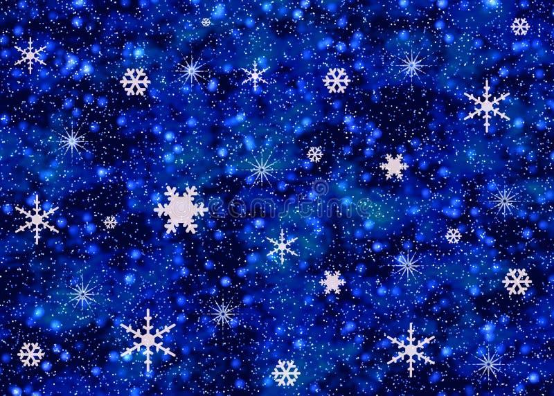 Flocos de neve no céu nocturno ilustração do vetor
