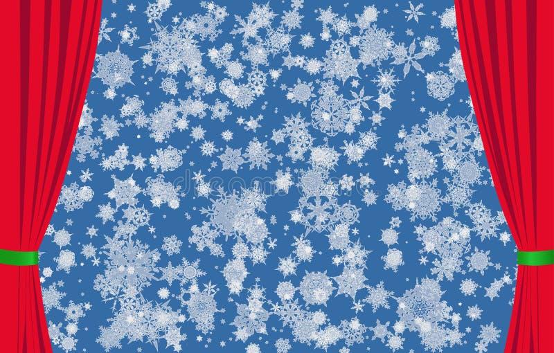 Flocos de neve no fundo azul e em cortinas vermelhas fotos de stock