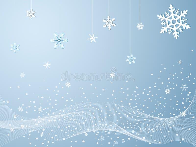 Flocos de neve no inverno frio ilustração do vetor