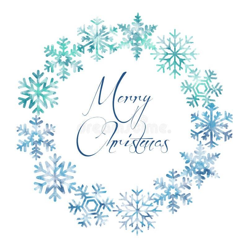 Flocos de neve, quadro, Feliz Natal, oval ilustração royalty free