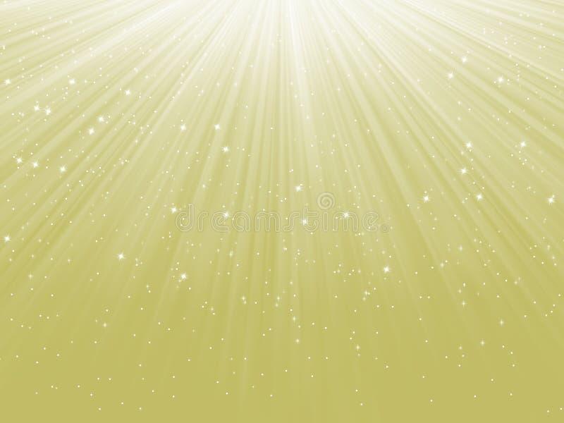 Flocos de neve que descem em um trajeto da luz. EPS 8 ilustração royalty free
