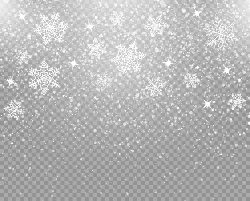 Flocos de neve de queda isolados em um fundo transparente overlay Decoração do inverno para o feriado do ano novo e do Natal Veto ilustração royalty free