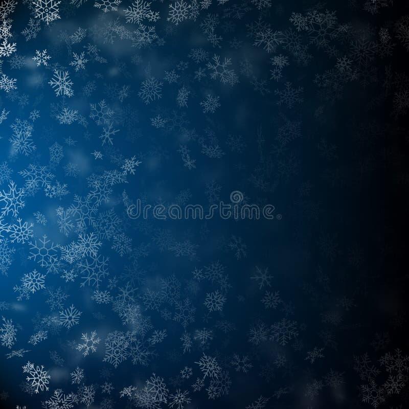 Flocos de neve de queda realísticos em formas e em formulários diferentes Muitos elementos transparentes do floco frio branco Eps ilustração stock