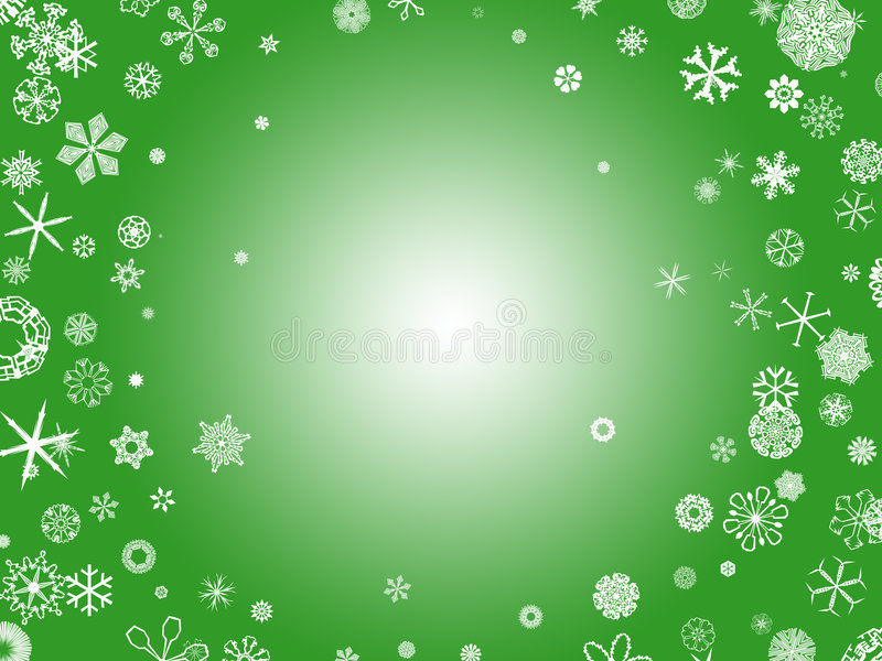 Flocos de neve - verde ilustração royalty free