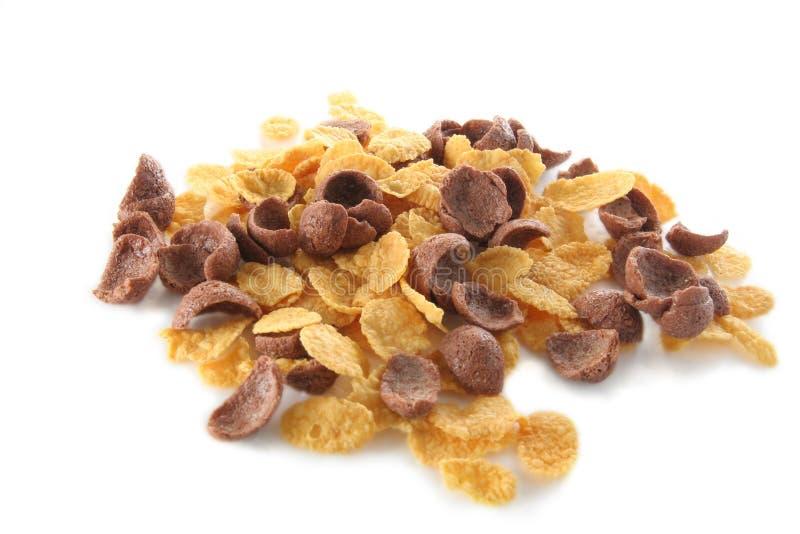 Flocos do milho e do choco do cereal foto de stock