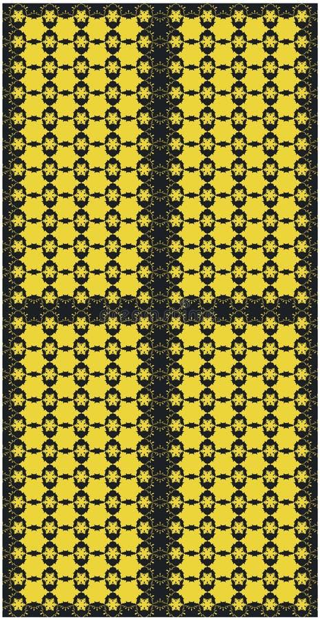 Flocos dourados da neve do teste padrão sem emenda na ilustração escura do vetor do fundo ilustração stock