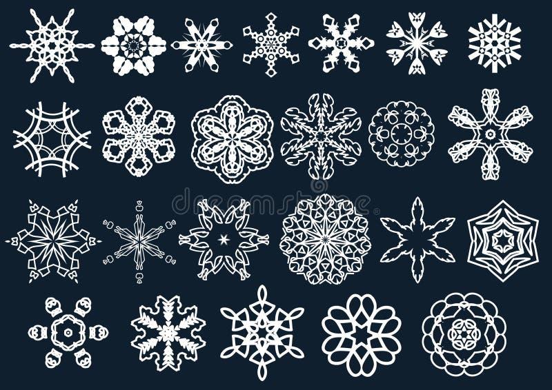 Flocos e estrelas da neve do vetor ilustração stock