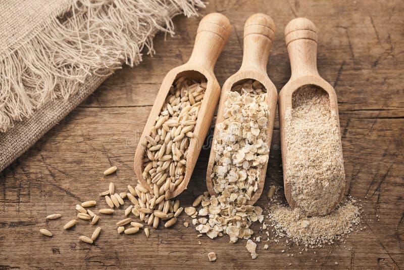 Flocos, sementes e farelo da aveia foto de stock