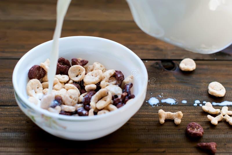 Flocos sob a forma dos crânios e dos ossos com leite para o café da manhã foto de stock