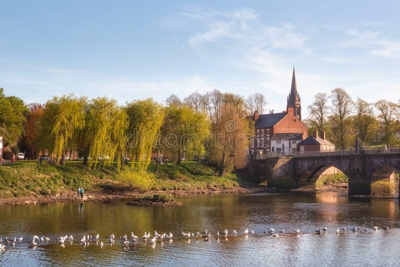Flod Dee Chester City UK royaltyfria bilder