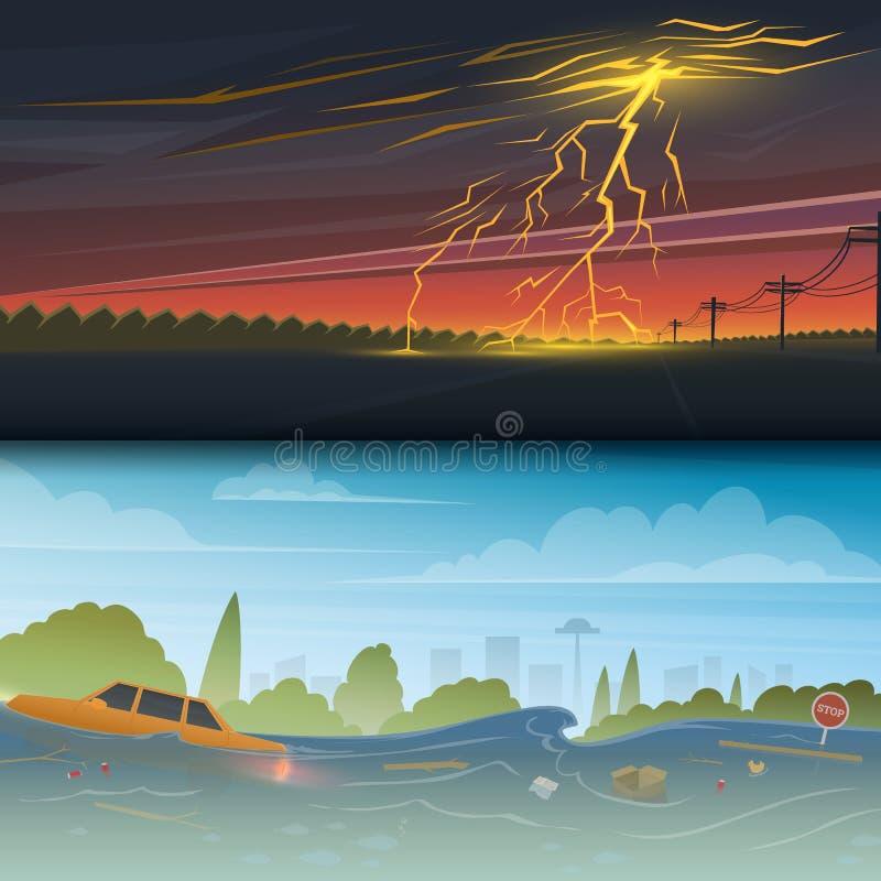 Flod eller naturkatastrof Blixtslag och regn Åskväderdag Flottörhus avskräde Högt vatten, överflöd som är stort vektor illustrationer