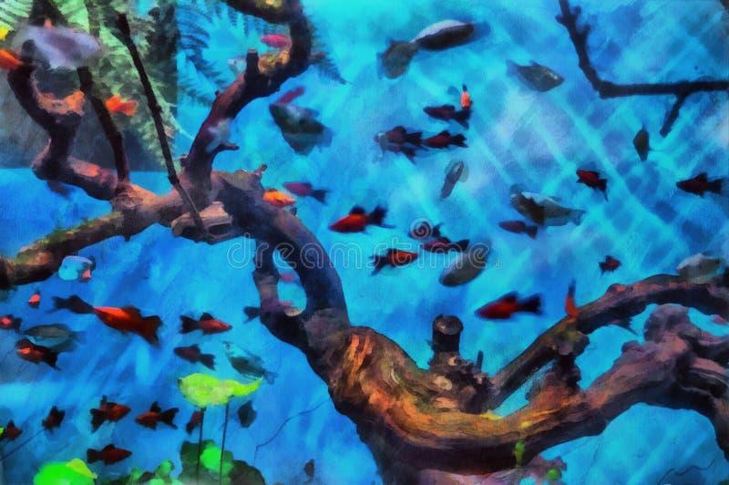 flod för målning för skogliggandeolja Det undervattens- världsakvariet royaltyfri illustrationer