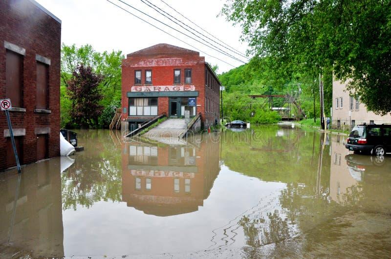 Flod för maj 2011 i Montpelier, Vermont royaltyfria foton