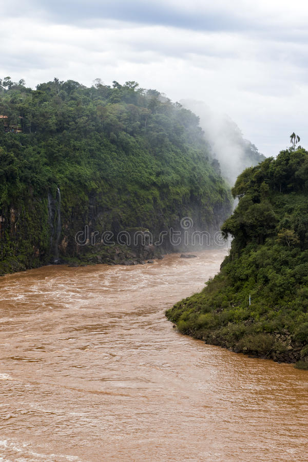 Flod från Iguazu Falls veiw från Argentina fotografering för bildbyråer