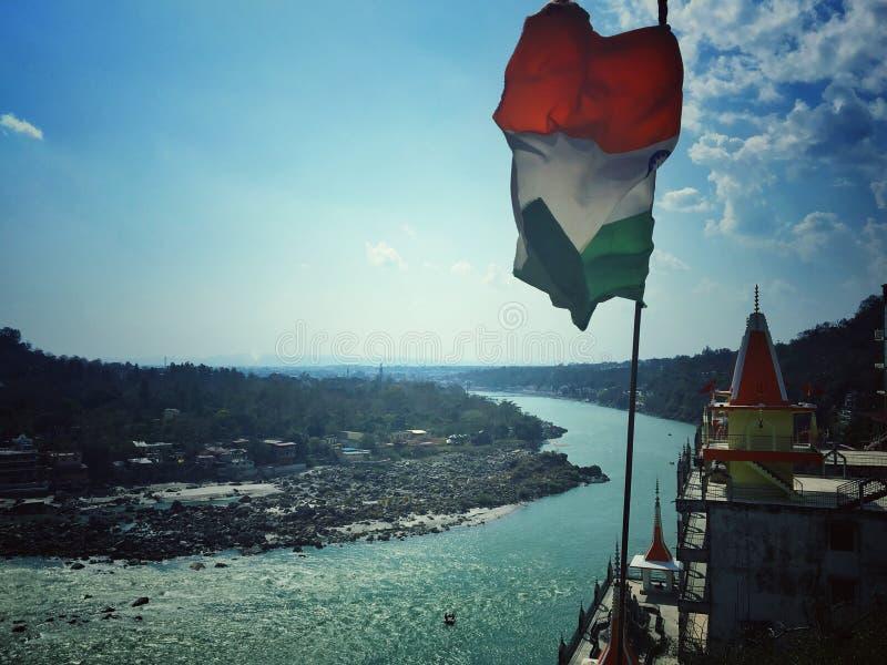Flod Ganga Rishikesh arkivfoto