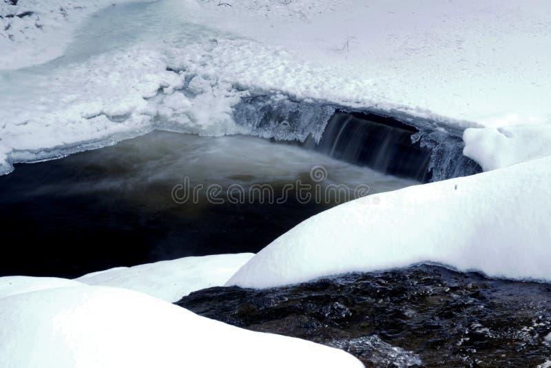 Flod i en kanjon under vinter royaltyfria foton