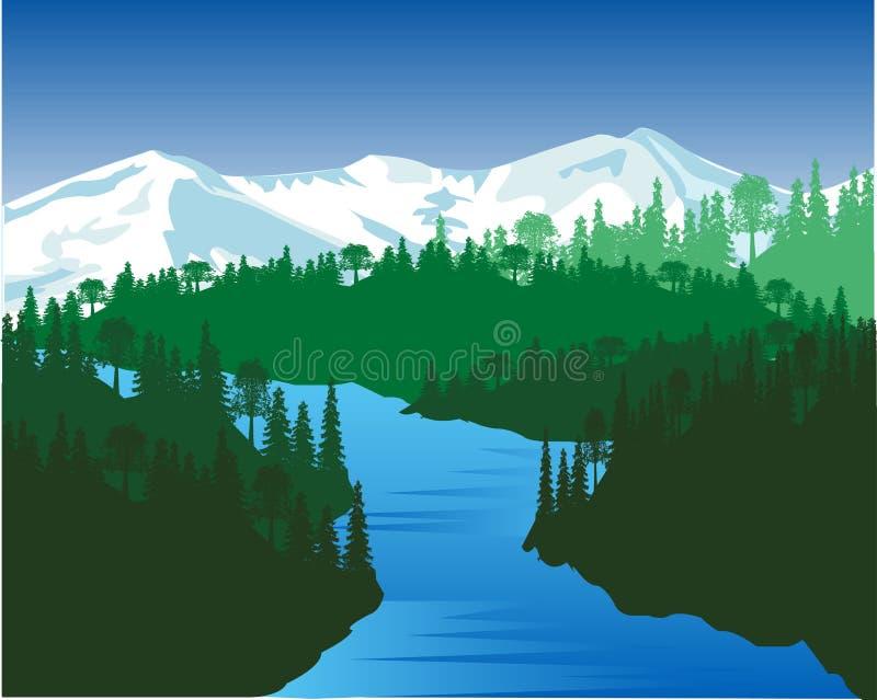Flod i trä stock illustrationer