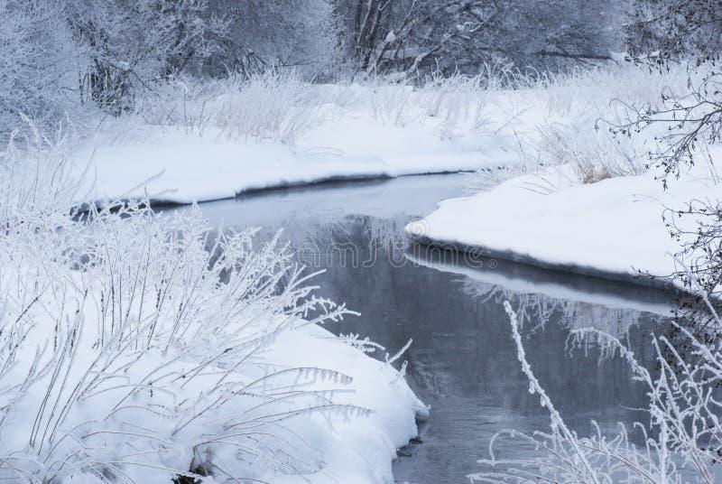 Flod i vinter. arkivbilder