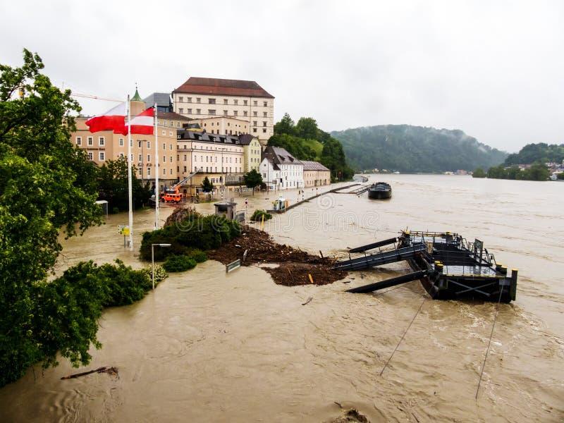 Flod 2013, linz, Österrike arkivfoto