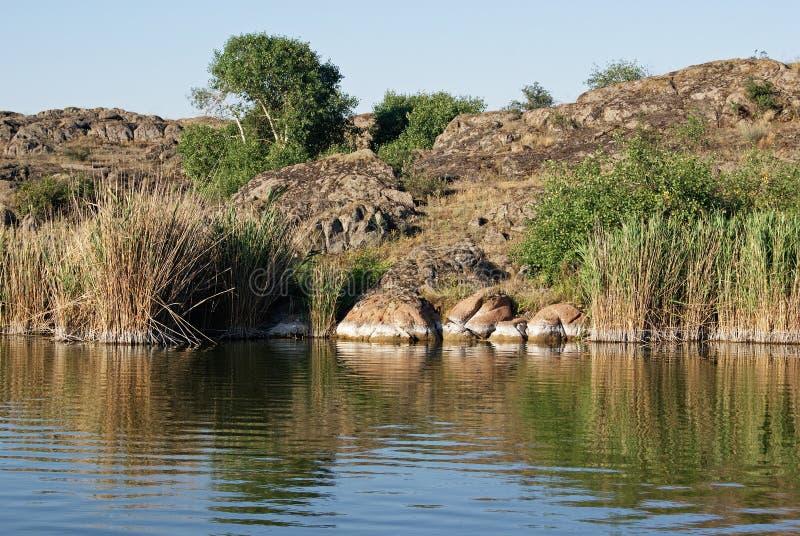 Flod med en stenig kust royaltyfri fotografi