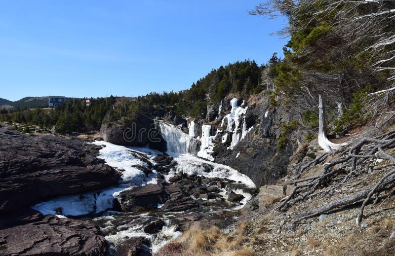 Flod- och vattenfalllandskap arkivbilder