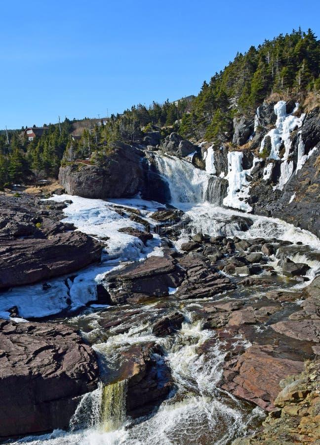 Flod- och vattenfalllandskap arkivfoto