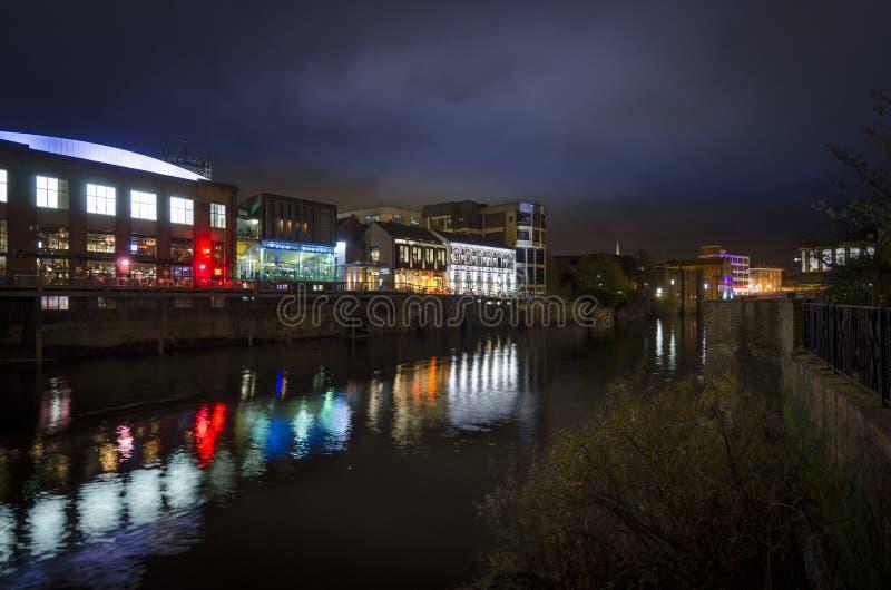 Flod Ouse på natten fotografering för bildbyråer