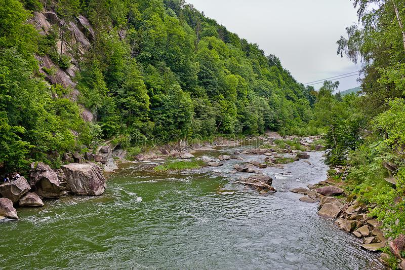 flod Prut i de ukrainska Carpathiansna arkivbilder