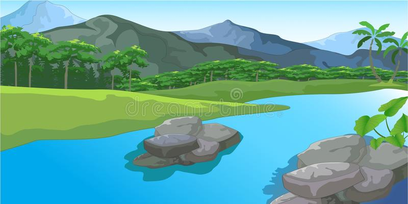 Flod som flödar förbi en fridsam stad vektor illustrationer