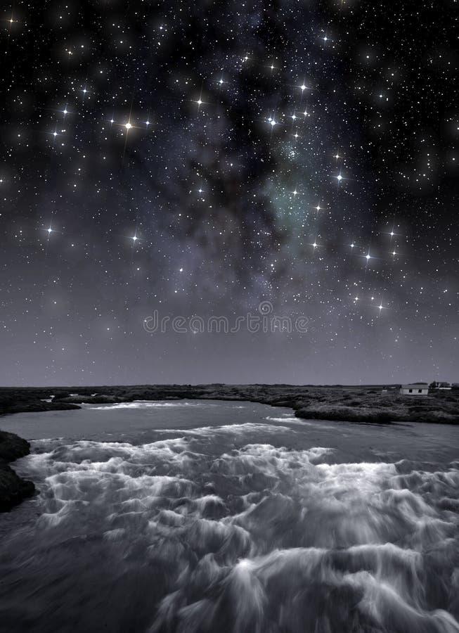 Flod under stjärnorna royaltyfria bilder
