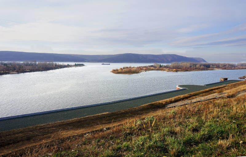 Flod Volga, Samara, Krasnaya Glinka royaltyfria foton