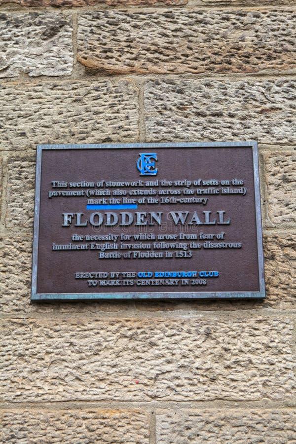 Flodden väggplatta i Edinburg royaltyfria foton