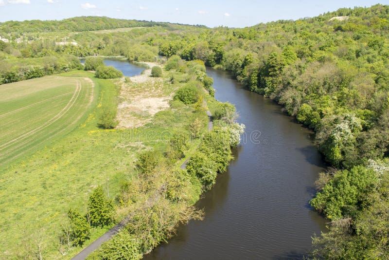 Floden Don Looking Towards Sprotbrough fotografering för bildbyråer
