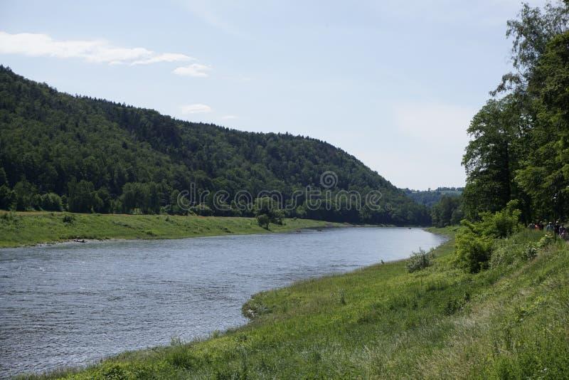 Floden Elbe mellan Kurort Rathen och Stadt Wehlen i Sachsen i Schweiz arkivfoton