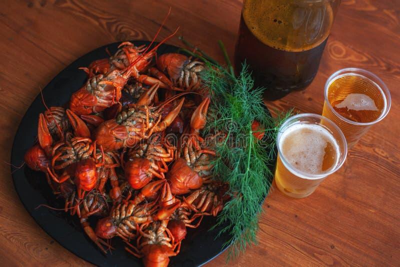 Floden kokade kräftan som lagades mat och tjänades som på en tabell för öl royaltyfria foton