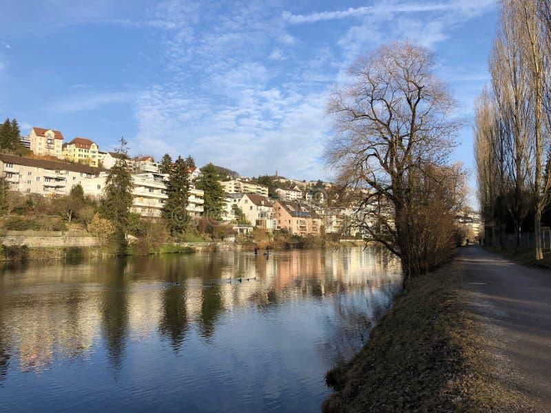 Floden Limmat med en promenad i staden av Zurich arkivbilder