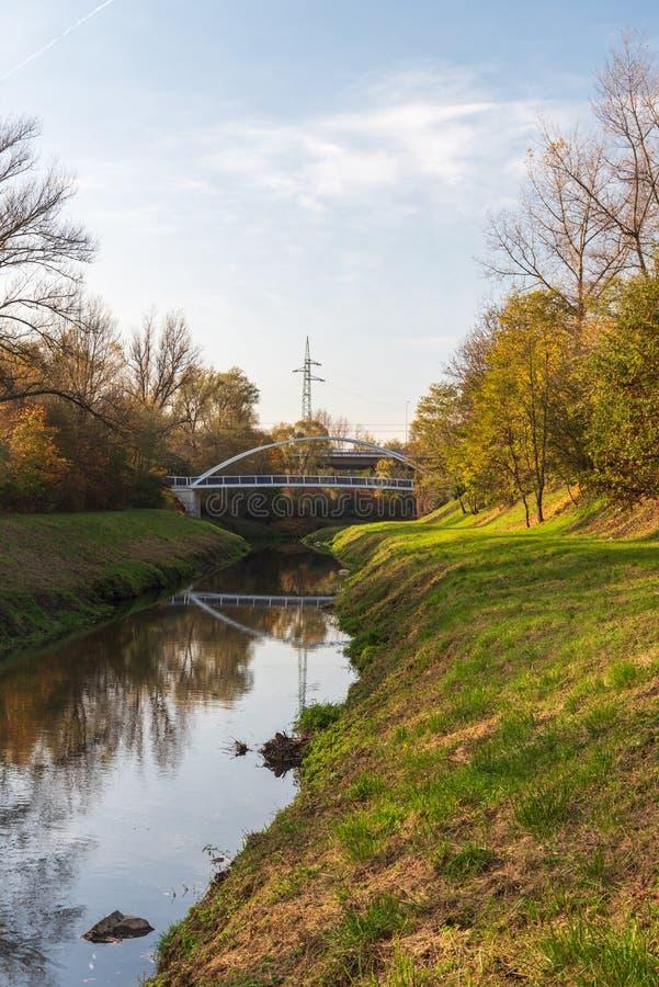 Floden Lucina med broar ovanför och färggranna träd i staden Ostrava i Tjeckien royaltyfri bild