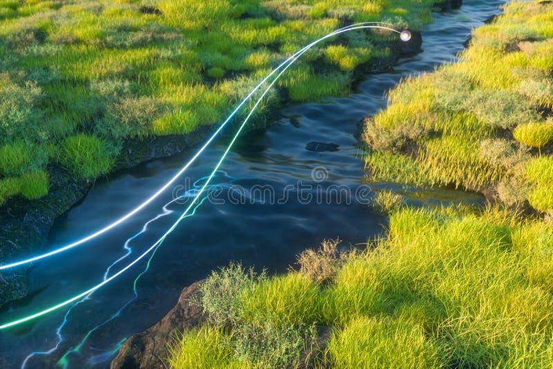 Floden mellan bergen i en solig dag, tolkning 3d royaltyfri illustrationer