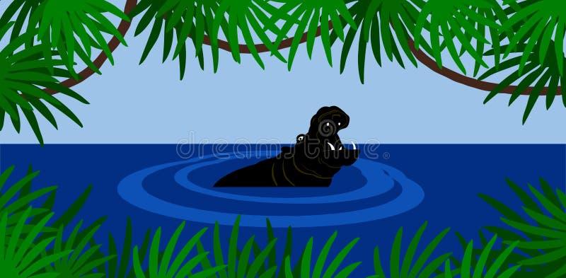 flodhäst vektor illustrationer
