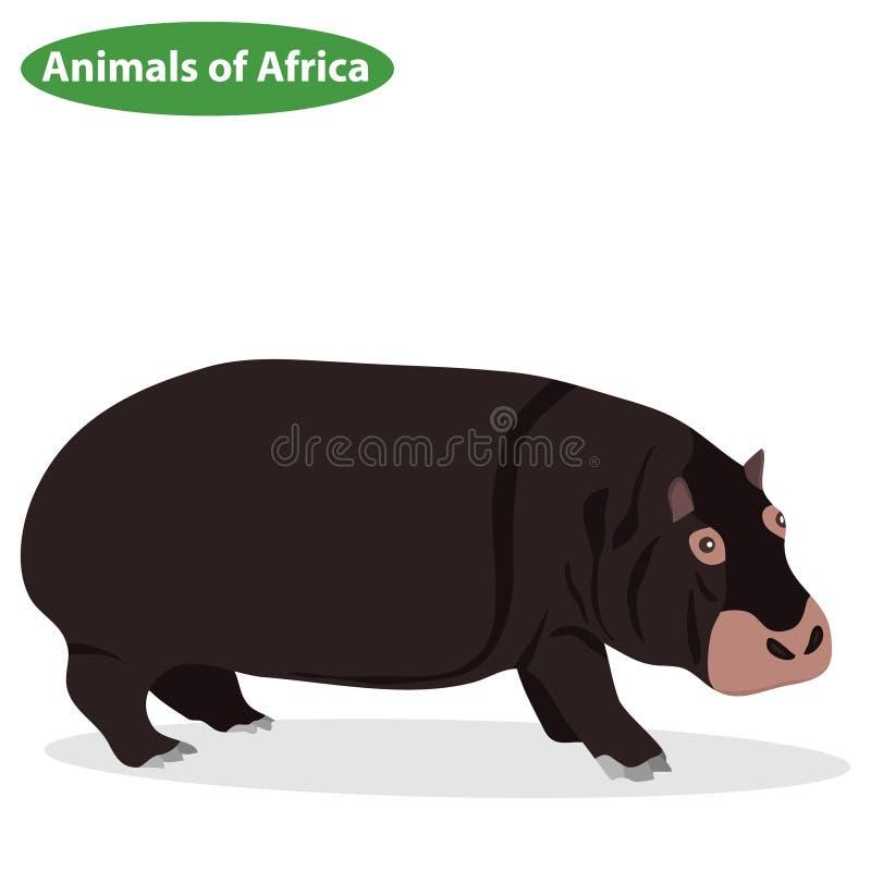 Flodhäst en flodhästsymbol, afrikanska djur stock illustrationer